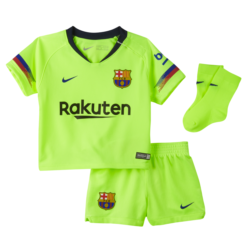 179669dae 2018 19 FC Barcelona Stadium Away Baby   Toddler Football Kit. Nike ...