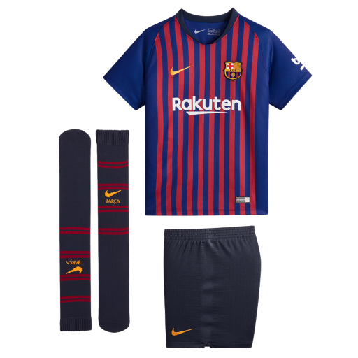 9b60f83be61 2018 19 FC Barcelona Stadium Home Younger Kids  Football Kit. Nike ...