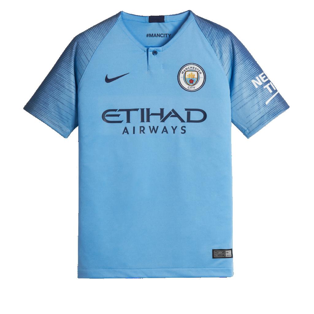 2018 19 Manchester City FC Stadium Home Older Kids  Football Shirt ... f9f6509b6be7